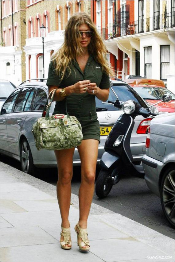Leggy Fergie in Military Style